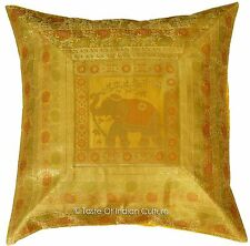 "Large 26"" Gold Elephant Pillow Cushion Cover Silk Brocade Sofa Floor Throw Decor"