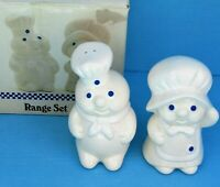 "NIB 1988 Pillsbury Doughboy Ceramic Large 5"" T Range Set Salt & Pepper Shakers"