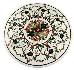 30 Inches Round Shape Dining Table Multi Color Gemstones Inlaid Hallway Table