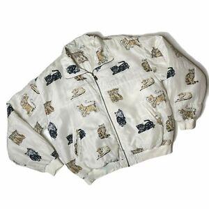 Vintage Silk Cat Bomber Jacket Coaco Medium Jacket