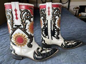 mens unbranded vintage white sunflower cowboy boots unsized