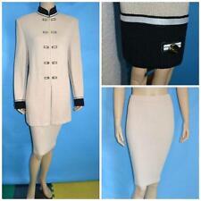 St John Collection Knit Beige Tan Jacket & Skirt XL L 12 14 2pc Suit Gold Button