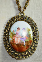 Victorian Brass Hand Painted Porcelain Couple Courting Cameo Pendant Necklace