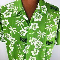 Tampa Bay Rays Medium Green Hawaiian Aloha Hibiscus Palm Trees Dri Fit Shirt