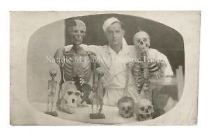 Vintage 1930s BEST Skulls Skeletons Specimens Medical Oddity Photo RPPC
