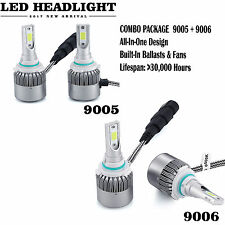 9006 9005 Total 600W 60000LM LED Headlight High Low Beam Combo Kit 6000K White