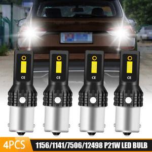 4X 1156 LED Reverse Light Canbus P21W Error Free BA15S Backup Bulbs 6000K White