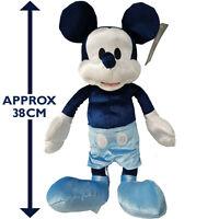 Disney Store Mickey Mouse Medium Plush Velvet Soft Cuddly Stuffed Toy Teddy Blue