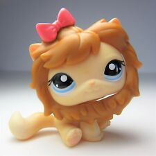 Littlest Pet Shop Cat # 1005 amarillo pelo corto ojos azules León Barba Lp #1005