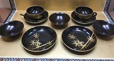 VINTAGE JAPANESE LACQUERWARE TEA SET BLACK GOLD