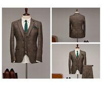 Brown Men Plaid Tweed Suit Vintage Grooms Tuxedo Dinner Party Prom Wedding Suit