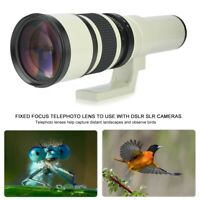 Black 500mm F6.3 Telephoto Lens Fixed Focus with T2-AI Adapter for Nikon Camera