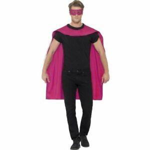 Smiffy's Unisex Cape and Eye Mask Set Pink Onesize VR274 01