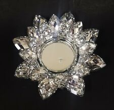 "New Crystal Cut Glass Mirror Lotus Flower Shaped 3"" Pillar,Candle Holder-8"" Wide"