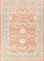 All-Over Vegetable Dye PEACH CORAL Oushak Turkish Area Rug Hand-Knotted 9x12