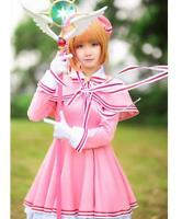 Cardcaptor Sakura Kinomoto Pink Fight Uniform Dress Outfit Cosplay Costume