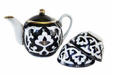 Uzbek 3-piece floral tea set 27-ounce teapot with two 7-ounce cups dark blue
