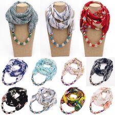 Boho Pendant Necklace Scarf Jewelry Necklace Scarves Stole Shawl Wrap Scarfs
