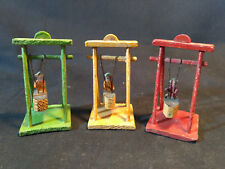 Collectible Mini Toy Dollhouse Wood Boat Swings Set 3 Pieces Made In Germany