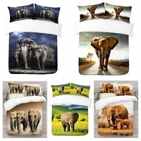 UK Made 3D Elephant Design Photo Digital Duvet Quilt Cover With Pillowcases
