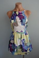 Dotti Spaghetti Straps Exposed Zip Peplum Floral Mini Dress sz 10