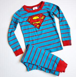 Hanna Andersson Superman Pajama Set 5 110cm Organic Cotton Blue Striped Red Long