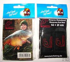 Behr Neopren Klettbänder  Rutenbänder 14 und 21 cm  2 Stück  Red Carp Schwarz