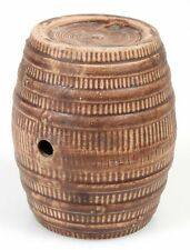 WHISKEY BARREL SHAPED POTTERY KEG W/ NO PLUGS 5.5in TALL