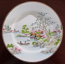 Antique Nippon Maple Leaf Hand Painted Plate River Scene Fuji w/ Gold Rim 7 5/8""