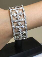 18K White Gold Diamond Cuff Bracelet 8.34 Tcw And 53.48 Grams 18k Gold