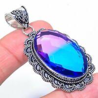 """Bi-Color Tourmaline Gemstone Handmade Ethnic Jewelry Pendant 2.29"""" VJ-10970"""