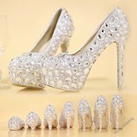 Ladies High Heel Platform Rhinestone Bridal Wedding Shoes Crystal Pumps Plus SZ