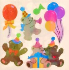 *SUPER RARE* PEARLY TEDDY BEARS BIRTHDAY  Sandylion Stickers-3 SQUARES *VINTAGE*