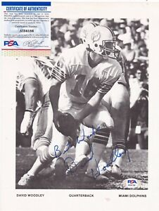 DAVID WOODLEY  MIAMI DOLPHINS   PSA AUTHENTICATED  ACTION SIGNED 8.5x11
