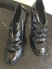 CHANEL Made in Italy Black Patent Leather Strappy High Heels Size 37.5