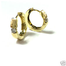 Breite Creolen mit Brillant 0,4 ct 750 er Gold Gelbgold Ohrringe Goldcreolen