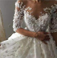 Wedding Dresses Bridal Ball Gowns Half Sleeves Flowers Pearls White Ivory 2019