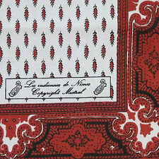 HANDKERCHIEF HANKIE VINTAGE 1970s MOD DARK RED WHITE LES INDIENNES DE NIMES