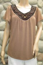 NWT Women's Notations Brown Short Sleeve Beaded V- Neck Blouse Size L