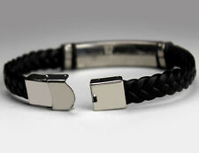 Name Bracelet ILYAS - Mens Leather Braided Engraved Bracelet - Eid Islam Gift