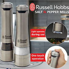 Electric Salt and Pepper Mills Grinders Silver Battery Operated Kitchen Tool Set