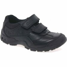 Clarks Boys Nano Flash Black Leather Lights School Shoes size 13F RRP£36