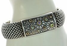 """ALS Italy Solid 925 Sterling Silver and 18K Gold Multi-gemstone Bracelet 8""""L '"""