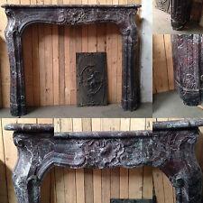 paire de cheminée louis XV en marbre sarrancolin jambage galbe XIX siècle