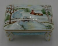 Vintage Dorothy Long Hand Painted Porcelain Four Footed Lidded Trinket Dish