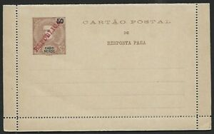 Cape Verde 50c Carlos REPLY PAID lettercard overprinted REPUBLICA mint
