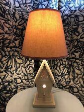 $119 PBK Pottery Barn Kids Wooden Birdhouse Table Lamp Pink Shade Night Light