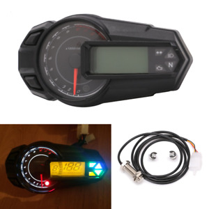 Universal Digital Motorcycle Speedometer Tacho Odometer Kmh 12000RPM Indicator