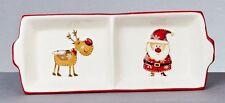 NOËL CÉRAMIQUE Père Noël & AMI rectangle 2 sections divisé ASSIETTE PLAT NEUF
