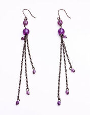 Hypnotizing Purple & Black Bead & Metal Drop Earrings For Accessorizing(Zx28)